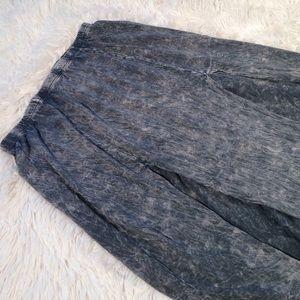Acid Washed Stone Dual High Slit Maxi Skirt