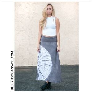 Tie Dye Fold Over Jersey Flared Maxi Skirt