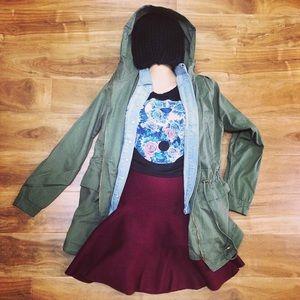 Thick Knit HighWaisted Fold Over Skater Skirt