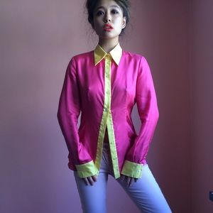 Prada Silk Colorblock Button Up Blouse