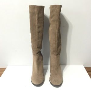 Bcbg tall tan suede boots