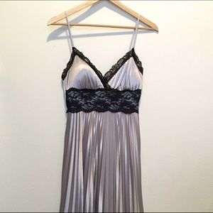 Dresses & Skirts - Silver dress. Black lace. Pleated skirt.