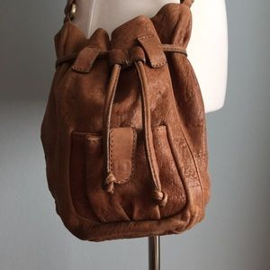 Zara leather crossbody bucket bag