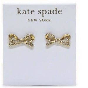 kate spade Jewelry - Kate Spade Pave Bow Earrings - GOLD