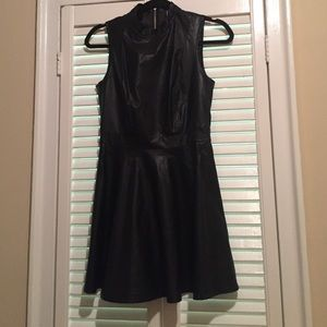 Forever 21- Vegan leather fit and flare dress S
