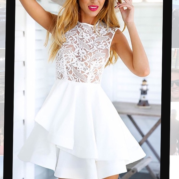 Mura boutique white dress with sequin sleeves