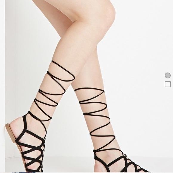 df4759c6c7cb Faux Suede Black Lace Up Sandals