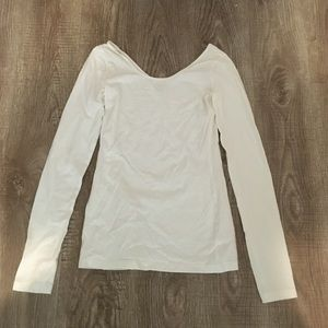 White scooped long sleeve