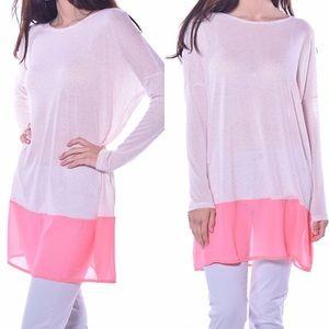 Pastels Clothing Tops - 🎉CLEARANCE🎉 Pink Chiffon Hem Sweater Tunic