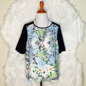 MM Couture Tops - MM Couture Floral Two Tone Top