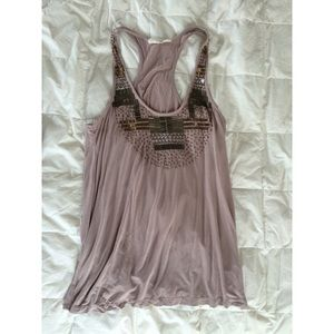 Lush Tops - Beaded Taupe Tank Top
