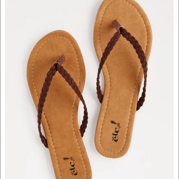 42 Off Rue21 Shoes Rue 21 Braided Brown Suede Flip Flops -5510