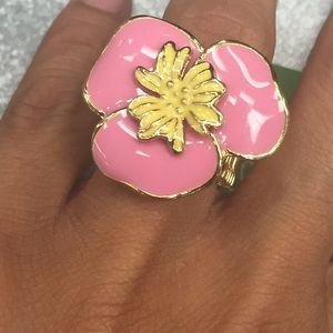Lilly Pulitzer Jewelry - Lilly Pulitzer pink flower stretch ring
