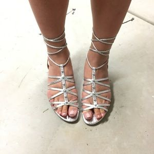SCHUTZ Shoes - Schutz Silver Studded Lace-up Sandals