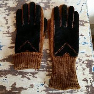 "Aris Accessories - Vintage Camel & black ""Aris"" gloves"