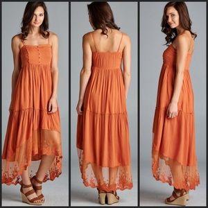 Dresses & Skirts - 🎉HP Hi/Lo Orange Spaghetti Strap Maxi Dress