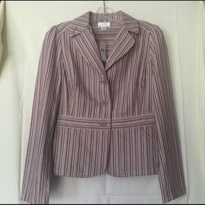 LOFT Crop Blazer in a purple & white stripe. NEW!!