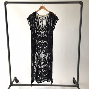 Other - Black Textured Mesh Maxi Vest
