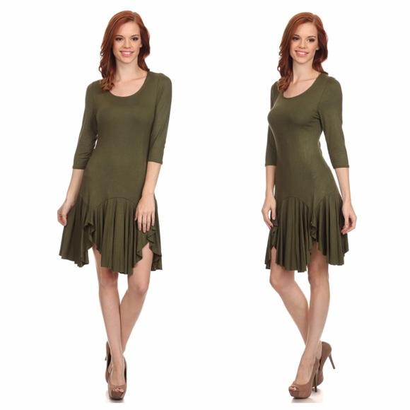 a10d54f6719 Olive Jersey Knit Handkerchief Dress