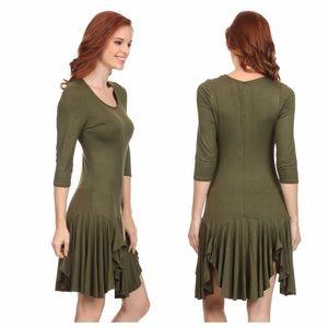 d1c7d8ca4ec Dresses - Olive Jersey Knit Handkerchief Dress