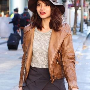 Jackets & Blazers - Light brown faux leather jacket