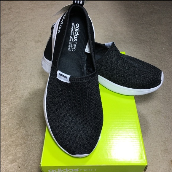 faf8a0c65da NEW Adidas Neo Lite Racer Slip on Black shoes 9.5