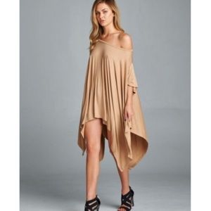 Citrus and Lavender Lane Tops - Asymmetrical Tunic in Taupe