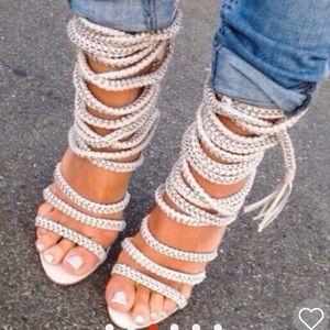 Size 8 wrap roped heels