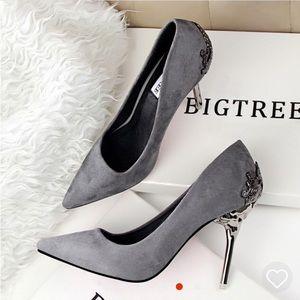 Gray pointy toe heels size 8