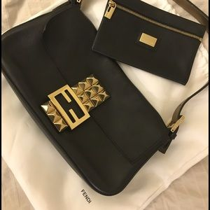 Black studded leather Fendi baguette