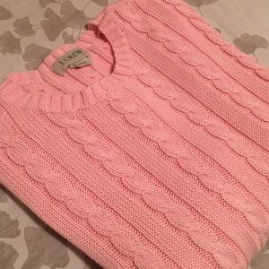 J. CREW Classic Cable Knit Sweater Baby Pink