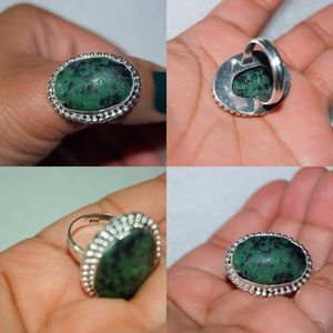 handmade & handcrafted gemstone jewelry Jewelry - Ruby Zoisite Statement Ring Size 9 925S