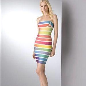 HP NWT Herve Leger Rainbow Striped Dress