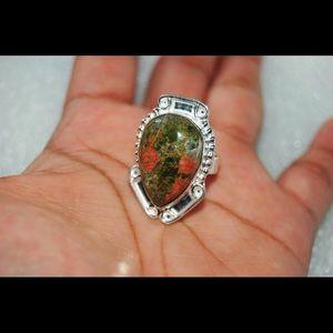 handmade & handcrafted gemstone jewelry Jewelry - Unakite Statement Ring Size 7
