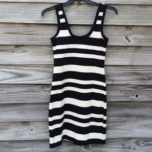 Willow & Clay Dresses & Skirts - Black and white striped, knit tank dress