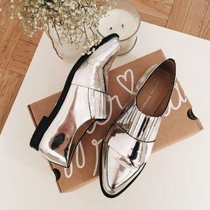 fe024aeb761 Loeffler Randall Shoes - Loeffler Randall Rosa Metallic Silver Loafer Flats
