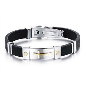 Stainless Steel Rubber Bracelet Cross Design