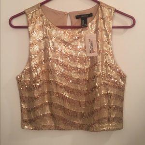 NWT gold sequin crop top
