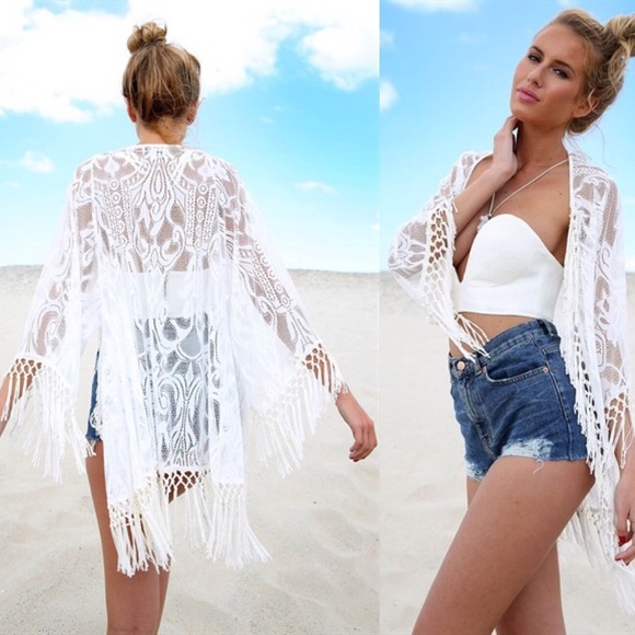 Nasty Gal Swim Sale White Lace Fringe Bikini Cover Up Kimono Poshmark