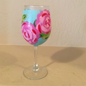 Lilly Pulitzer Other - Hand painted wine glass