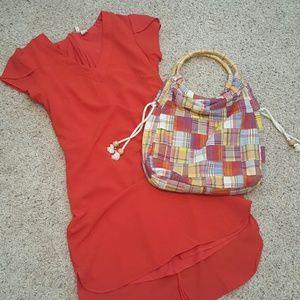 J. Crew Handbags - J. Crew colorful madras bag with wood ring handles