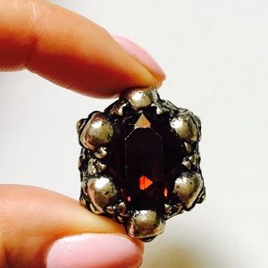 Skulls and Wild Ivy Red Swarovski Crystal Ring 6