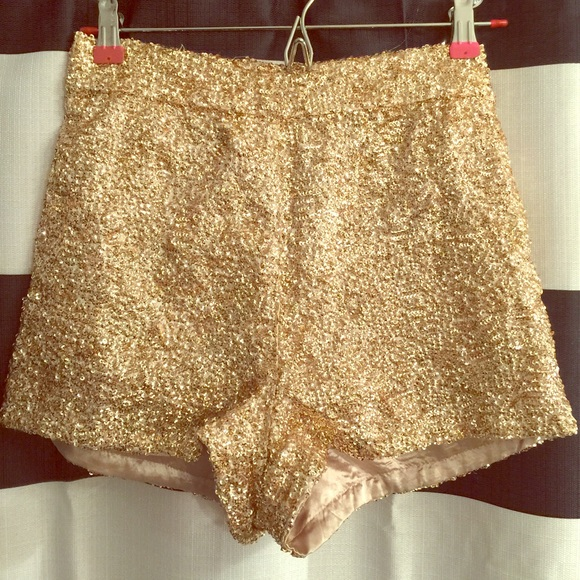 70% off L'atiste by Amy Pants - High waisted sequin gold shorts ...