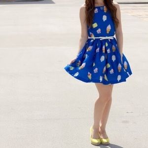 Re:named 3D ice cream halter fit and flare dress