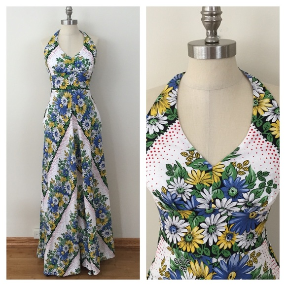 d95c0c430835 NWT Anthropologie Floral Halter Maxi Dress