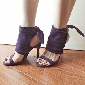Shoes - Plum Suede Back Bow Heels