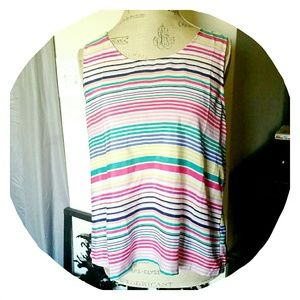 Pastel Open Back Striped Top