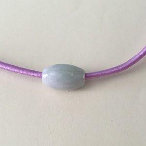 Natural Lavender Green Barrel Bead Necklace