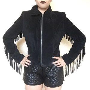 Vintage Jackets & Blazers - • Vintage Vegan Leather Fringe Jacket •