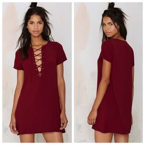 Nasty Gal Dresses & Skirts - Burgundy Lace Up Dress